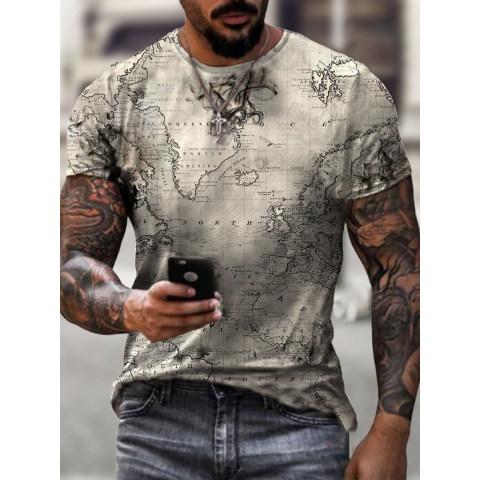 Earth Map Print T-shirt