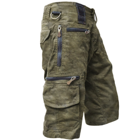 Mens outdoor tactical retro casual denim shorts