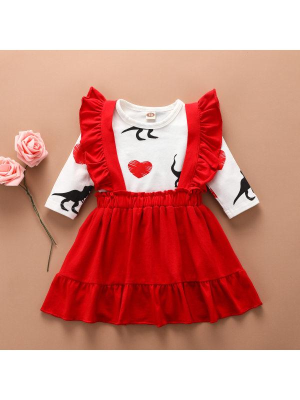 【6M-4Y】Girl Sweet Cartoon Print Long-Sleeved T-Shirt Red Strap Skirt Set