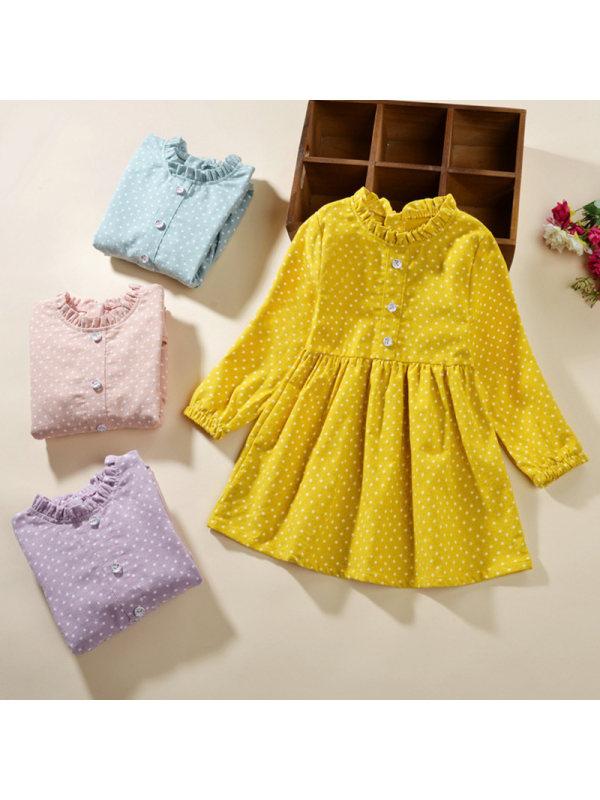 【2Y-11Y】Girl Sweet Flower Band Collar Long Sleeve Dress