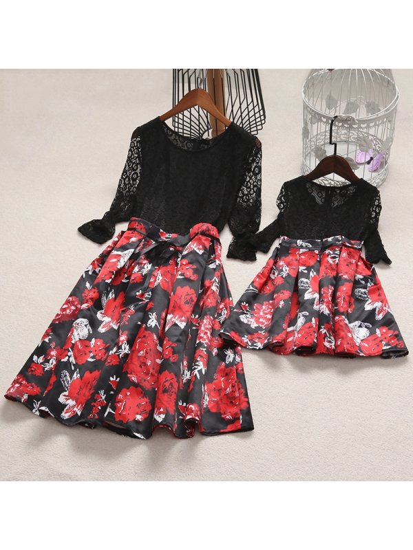 Lace Flower Prints Self Tie Mom Girl Matching Dress