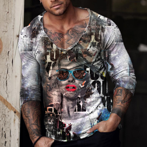Fashion Street Style Painting Print T-shirt