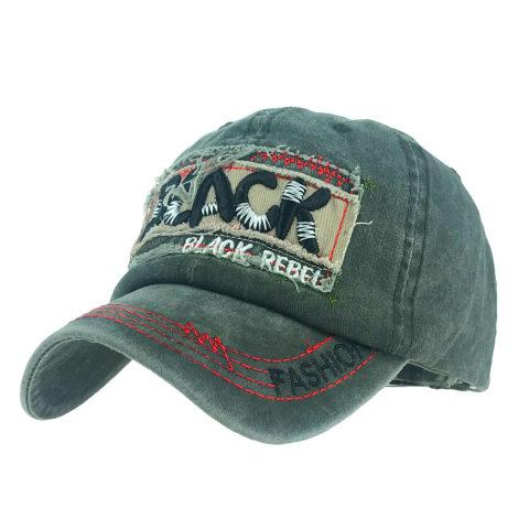 Washed black rebel letter cap