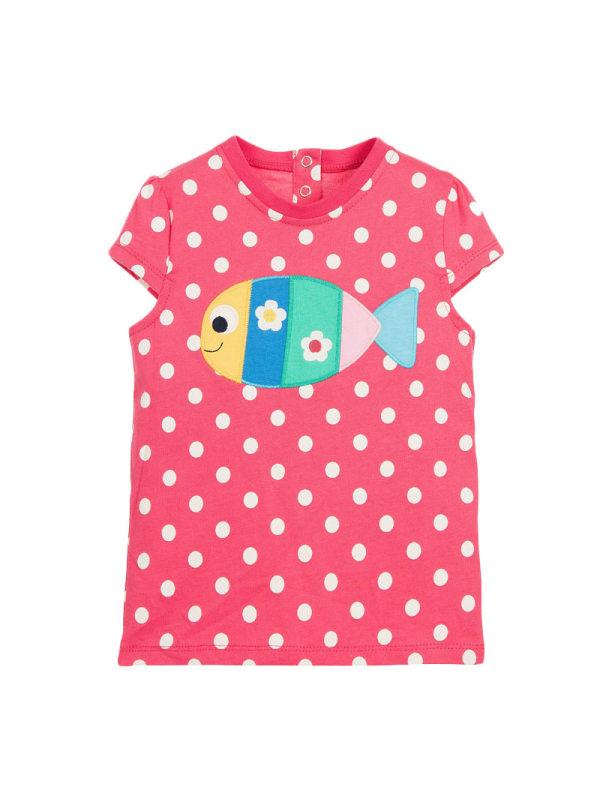 【18M-9Y】Girls Cartoon Fish Polka Dot Print Short Sleeve T-shirt
