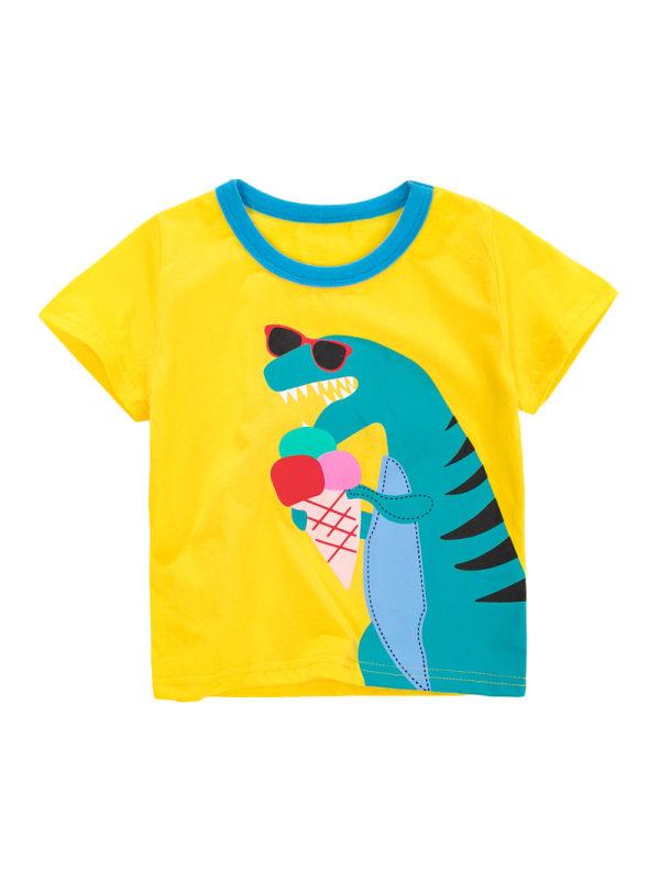 【18M-9Y】Boys Casual Cartoon Print Contrast Short-Sleeved T-Shirt