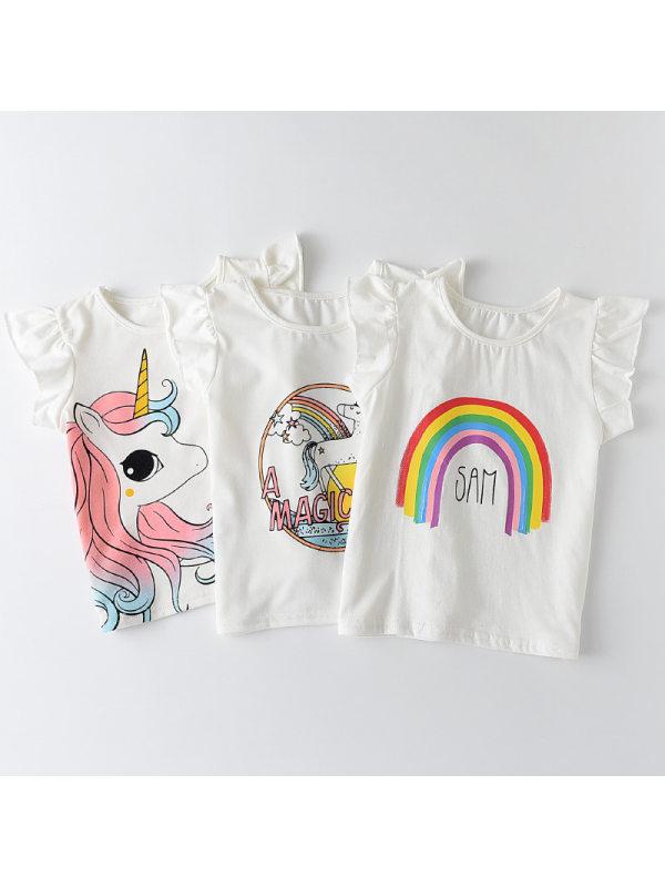 【18M-7Y】Cute Unicorn and Rainbow Print Round Neck Short Sleeve White T-Shirt