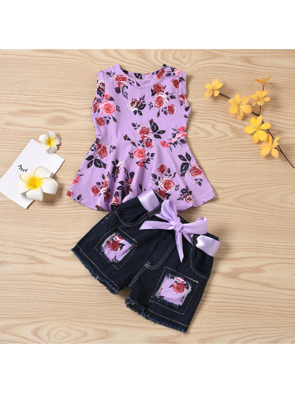 【12M-4Y】Sweet Flower Print Round Neck Sleeveless Purple Top And Denim Shorts Set