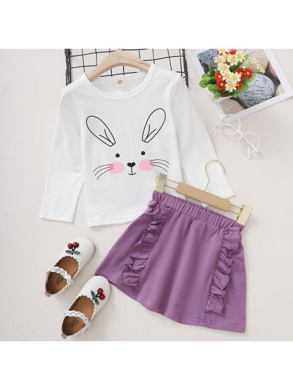 【18M-7Y】Cute Rabbit Print T-shirt and Purple Skirt Set