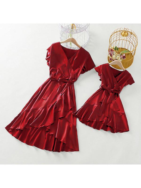 Irregular Shawl Collar Cap Sleeve Red Stain Mom Girl Matching Dress