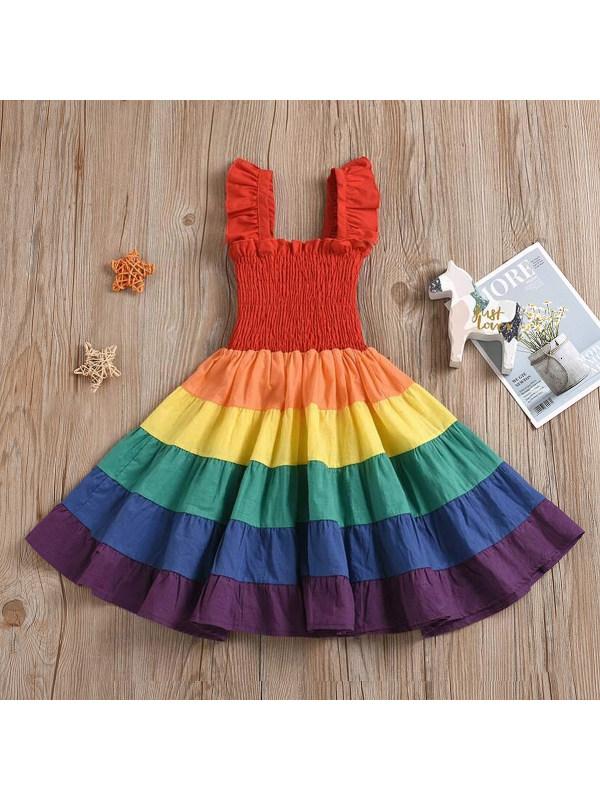 【12M-5Y】Girls Cute Rainbow Color Block Dress