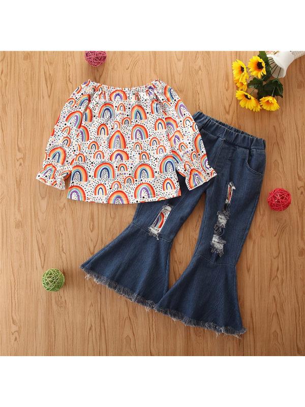 【18M-7Y】Girl Sweet Rainbow Print T-Shirt Denim Flared Pants Set