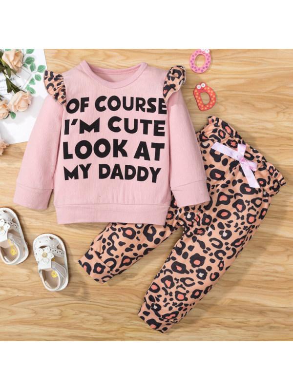 【9M-3Y】Cute Letter Print Round Neck Long Sleeve Sweatshirt and Leopard Print Pants Set