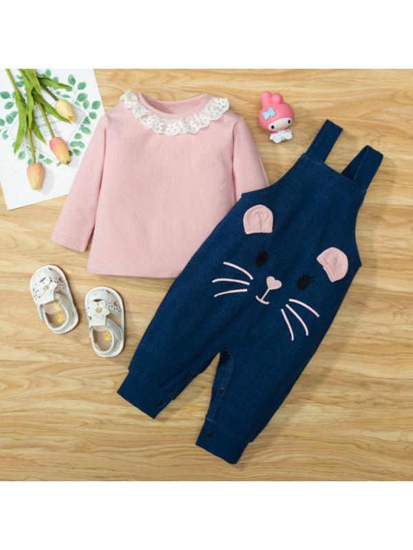 【9M-3Y】Cute Lace Lapel Pink T-shirt and Cartoon Overalls Set