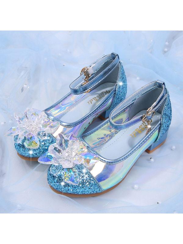 Girls Pendant Low Heel Sequin Crystal Shoes