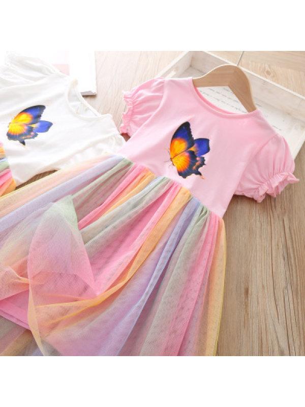 【18M-7Y】Girls Butterfly Rainbow Mesh Dress
