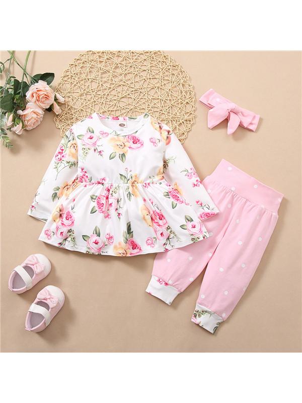 【6M-3Y】 Long-Sleeved Cute Print Pink Three-Piece Suit