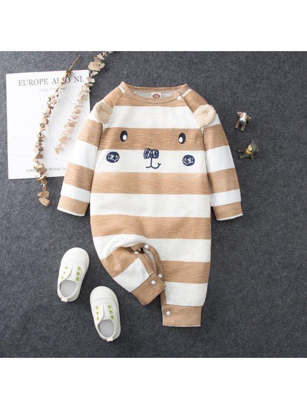 【3M-18M】Baby Cartoon Pattern Striped Long Sleeve Romper