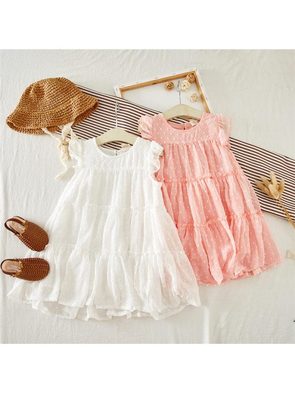 【18M-7Y】Girls Pleated Polka Dot Chiffon Dress