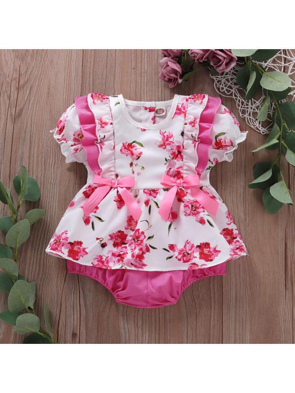 【6M-3Y】Baby Girls Bow Flower Print Lantern Sleeve Triangle Romper