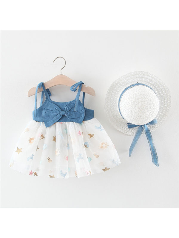 【6M-3Y】Girls Sweet Bow Denim Mesh Stitching Shoestring Strap Dress