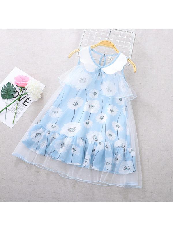【3Y-11Y】Girls Sleeveless Floral Print Mesh Dress