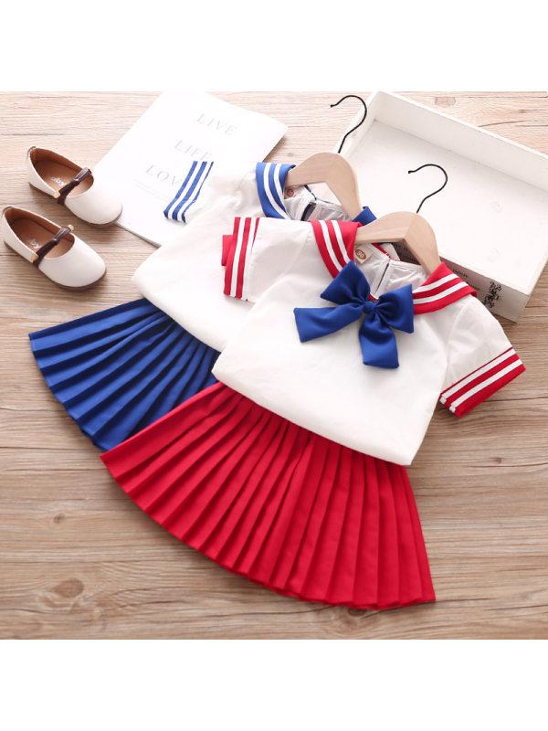【18M-7Y】Girls Bow Navy Collar Short Sleeve Top Pleated Skirt Set