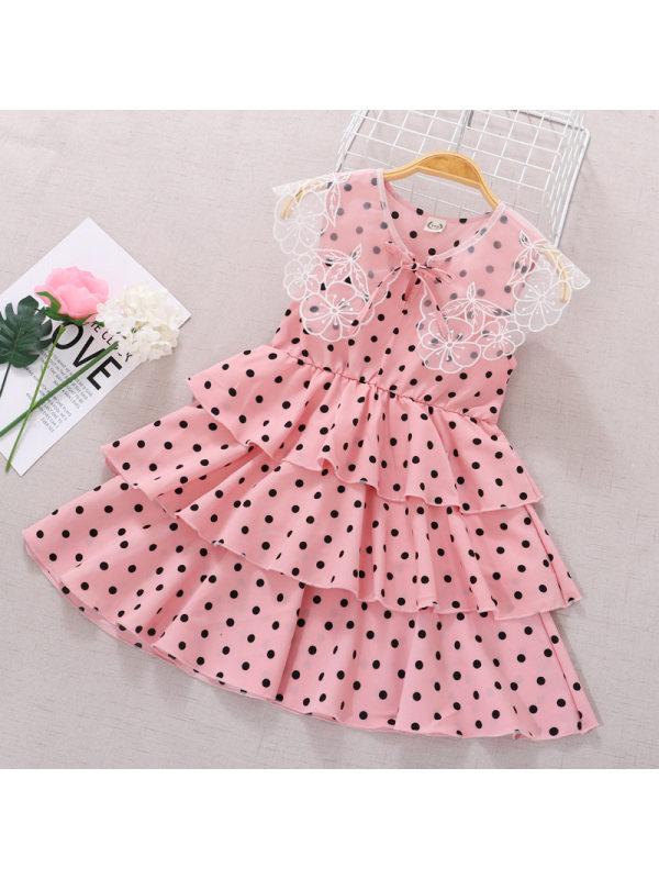 【3Y-11Y】Girls Sweet Chiffon Polka Dot Sleeveless Cake Dress