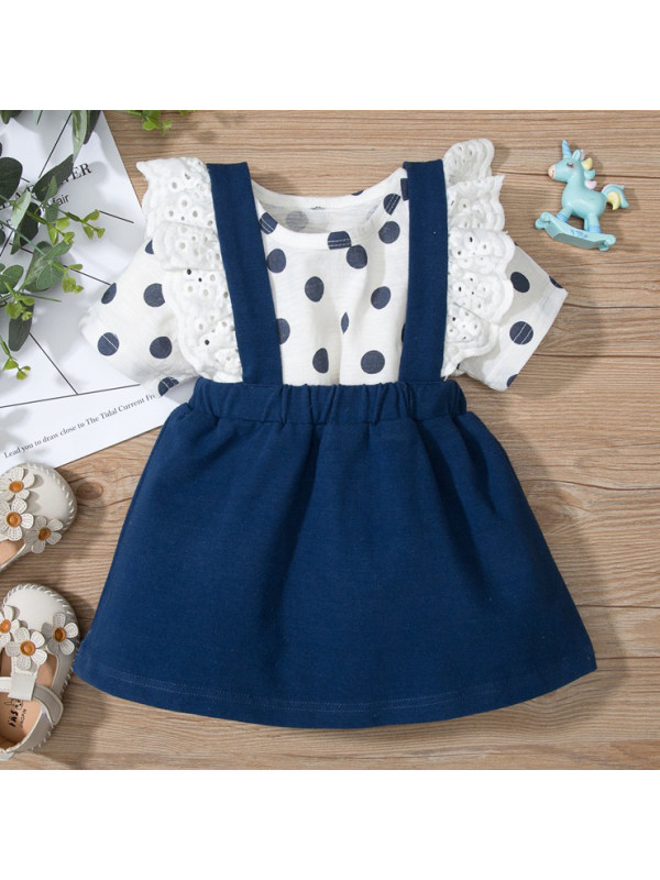 【9M-3Y】Cute Polka Dot Printed Round Neck T-shirt and Strap Skirt Set