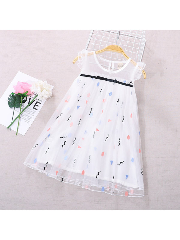 【3Y-11Y】Girls Sleeveless Embroidered Mesh Dress