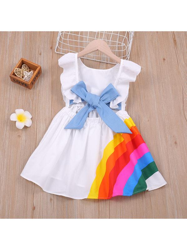 【18M-7Y】Girls Rainbow Backless White Dress