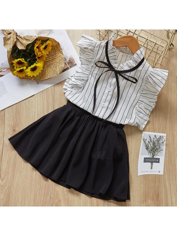 【2Y-9Y】Girl Sweet White Striped Ruffled Shirt Black Shorts Set