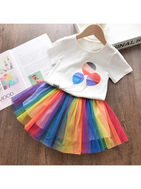 【2Y-9Y】Girls Sweet Cartoon Print Short-Sleeved T-Shirt Color Mesh Skirt Set