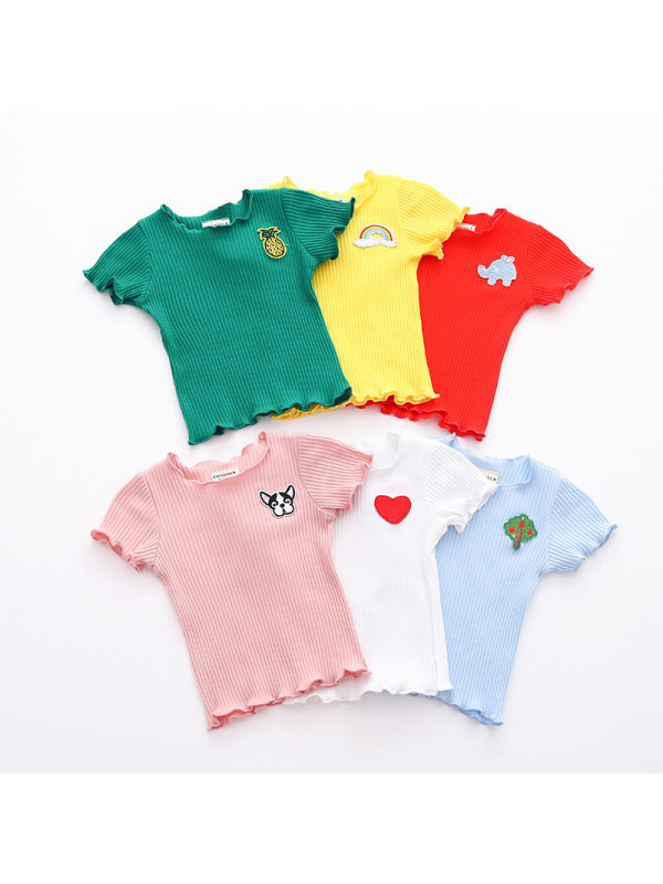【12M-5Y】Girls Casual Cotton Wave Crew Neck Short-sleeved T-shirt