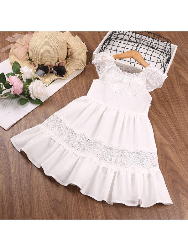 【18M-7Y】Girls Sleeveless Lace Stitching Round Neck Ruffled Dress