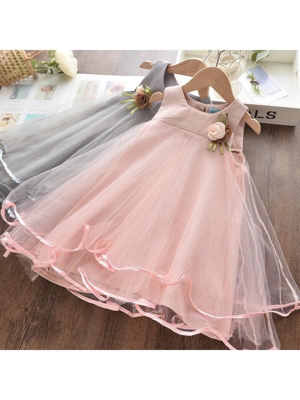 【2Y-9Y】Girls Sweet Mesh Applique Sleeveless Dress