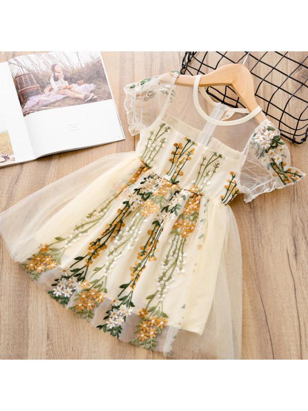 【2Y-9Y】Sweet Floral Embroidered Mesh Princess Dress