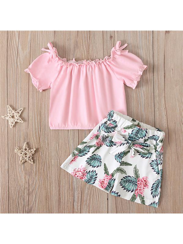 【18M-7Y】Girls Flower Print Shorts Suit - 3451