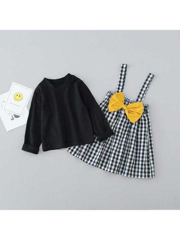 【6M-4Y】Girls Long Sleeve T-Shirt Plaid Bow Suspender Skirt Set