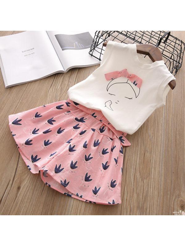 【2Y-9Y】Girl Sweet Cartoon Print Bow Tie Round Neck Vest Shorts Set