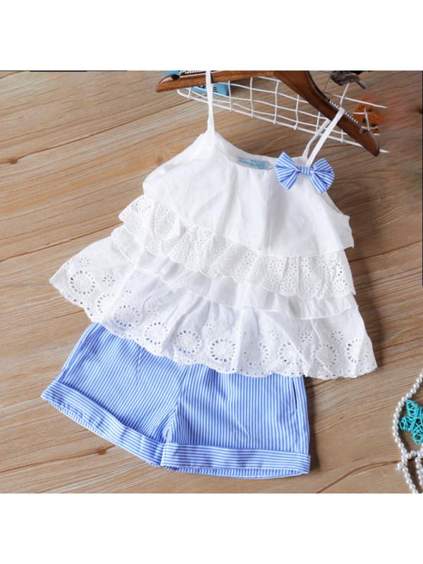 【2Y-9Y】Cute Cami Top And Blue Shorts Set - 3445