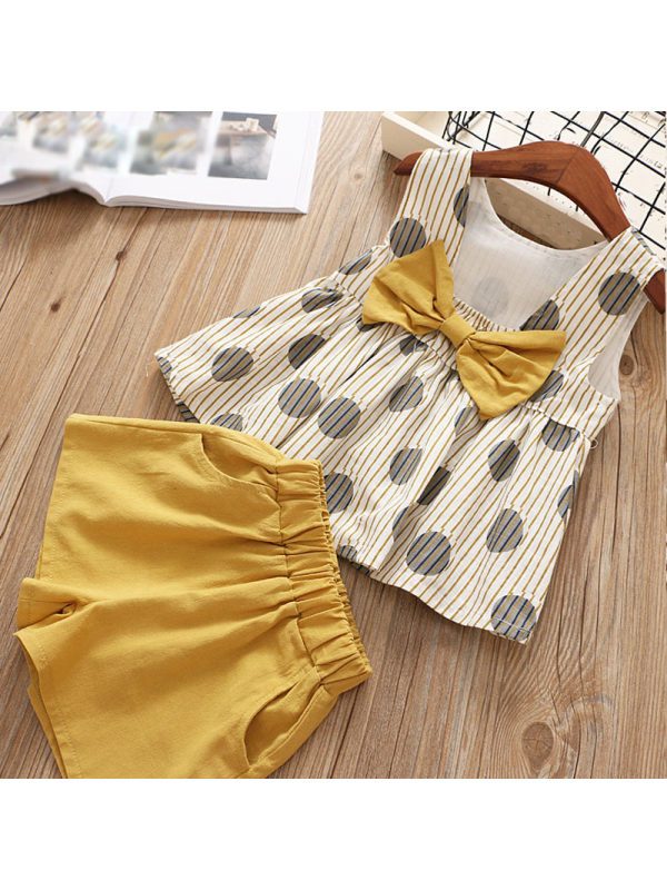 【18M-7Y】Sweet Polka Dot Print Back Bow Top and Solid Color Shorts Set - 3433