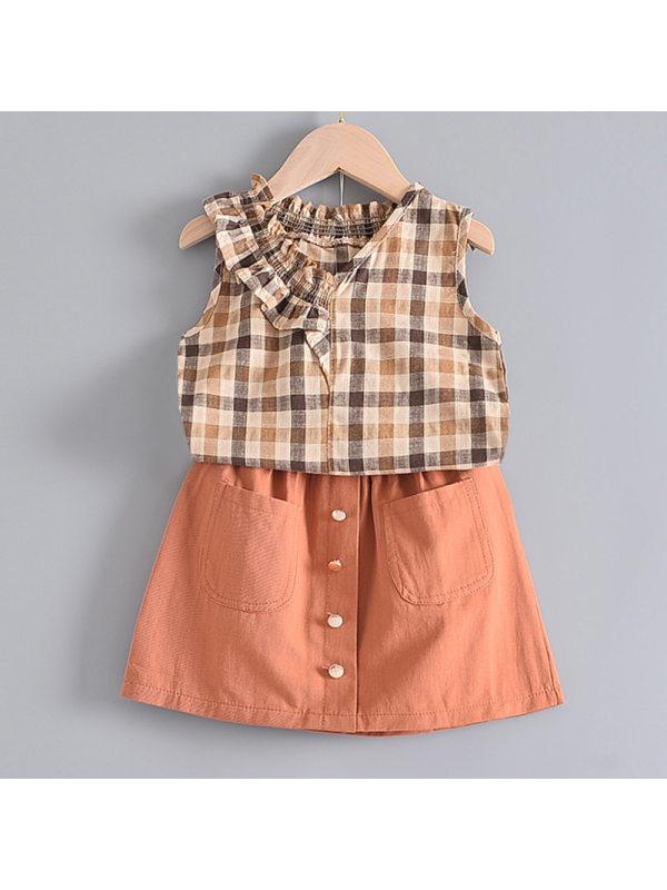 【2Y-9Y】Girl Sweet Orange Plaid Sleeveless Shirt Short Skirt Set
