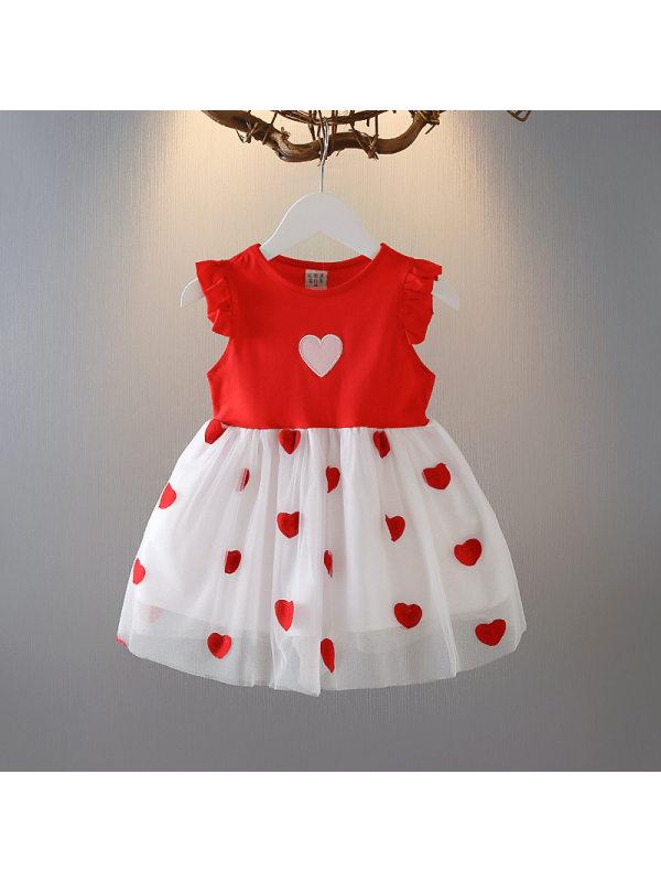 【18M-7Y】Girls Love Heart Embroidered Mesh Stitching Sleeveless Dress