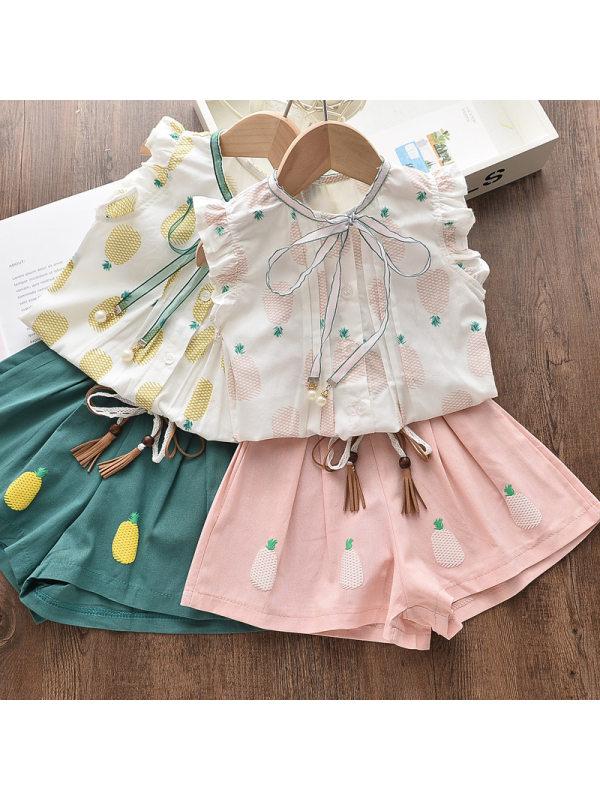 【2Y-9Y】Girls Sweet Pineapple Pattern Ruffle Shirt Shorts Set