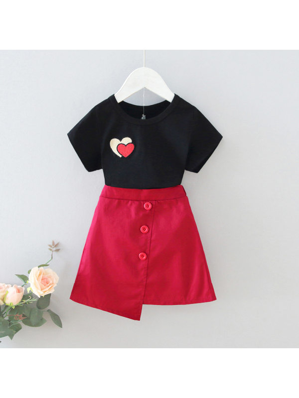 【18M-7Y】Girls Heart-shaped Embroidered T-Shirt A-Line Skirt Set