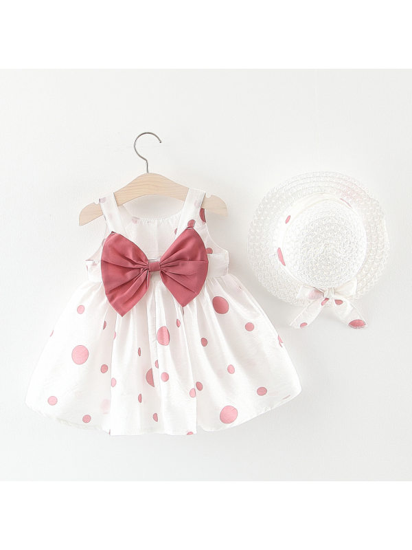 【6M-3Y】Girls Sweet Bow Polka Dot Sleeveless Dress