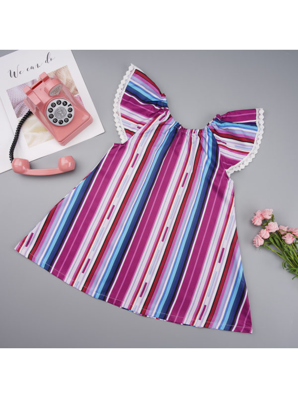 【6M-4Y】Girls Retro Color Striped Crew Neck Lace Sleeve Dress