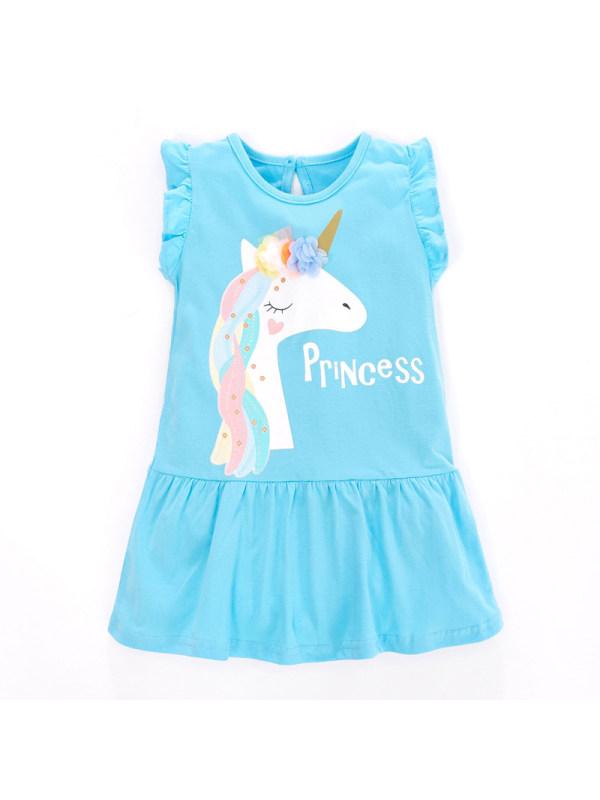 【18M-9Y】Girl Cute Sweet Cartoon Unicorn Print Sleeveless Dress