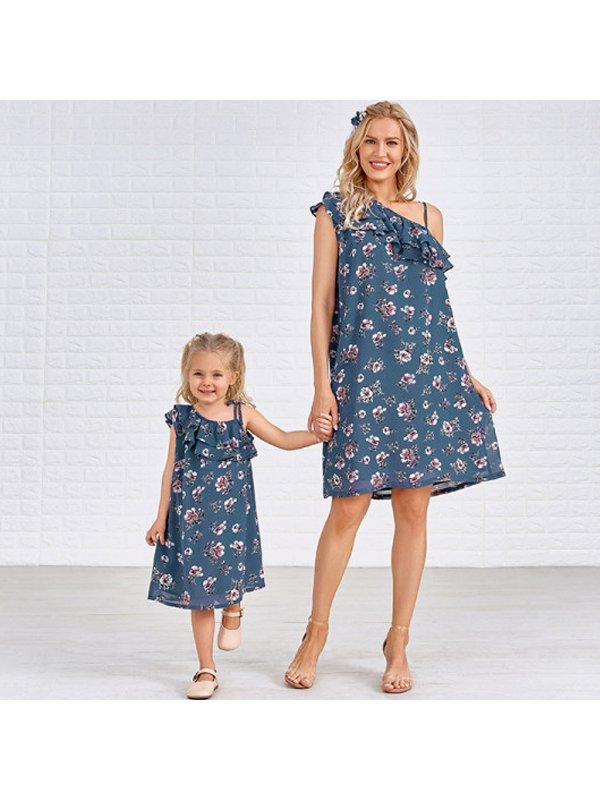 Cold Shoulder Slim Floral Print Mom Girl Matching Dress
