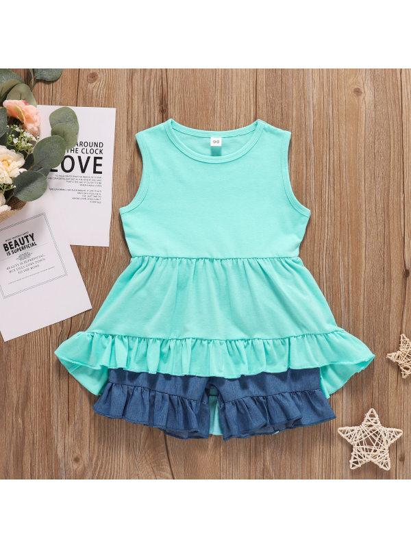 【18M-5Y】Girl Sweet Ruffled Vest Shorts Set